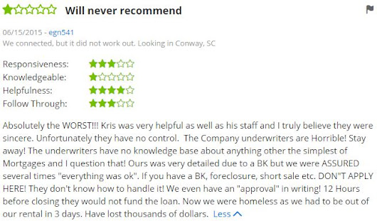 Zillow review for Kris Davis, Guild Mortgage in SC