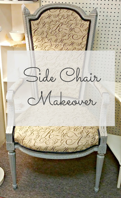 side chair makeover with printed burlap