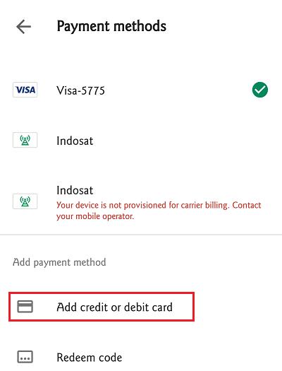 Pengguna bisa menambahkan kartu kredit/debit untuk pembayaran Google Play