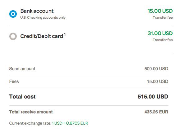 Screenshot Of The Moneygram Calculator