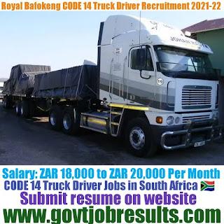 Royal Bafokeng Platinum CODE 14 Truck Driver Recruitment 2021-22