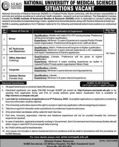 Jobs in National University of Medical Sciences NUMS 2020