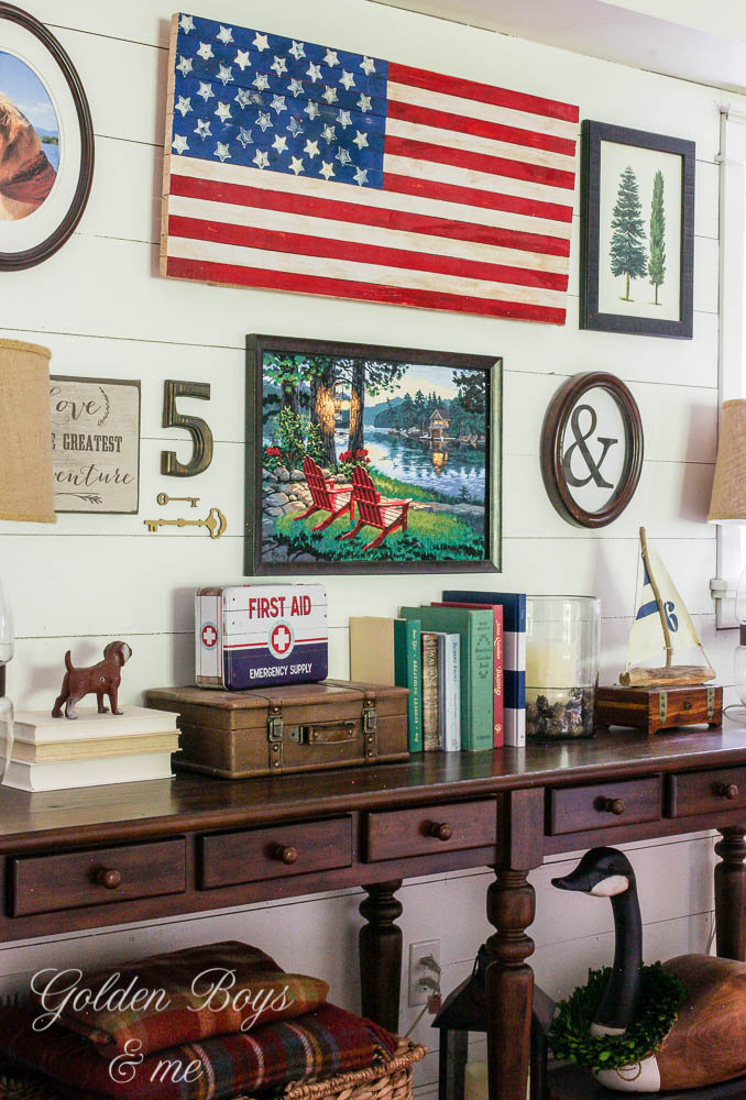 Summer gallery wall with DIY American flag, plank shiplap wall and paint-by-number