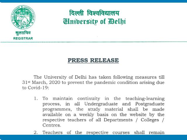 Delhi University Suspends Classes, Postpones Internal Exams till March 31 Amid Coronavirus Threat