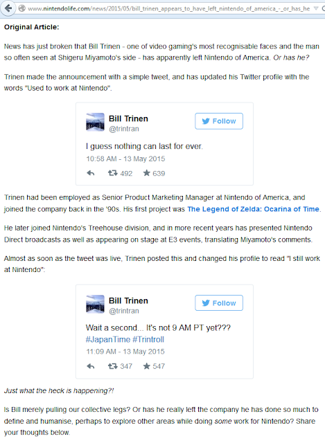 Nintendo Life reports Bill Trinen left Twitter tweet Trintroll