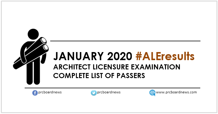 LIST OF PASSERS: January 2020 Architect board exam ALE result