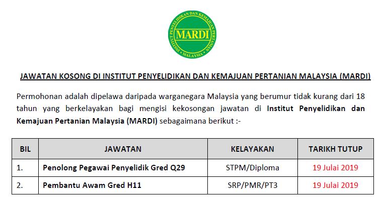 Jawatan Kosong Di Institut Penyelidikan Dan Kemajuan Pertanian Malaysia Mardi Kelayakan Pmr Diploma Ejawatankini Com