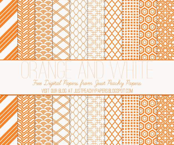 Free Digital Paper: Orange and White