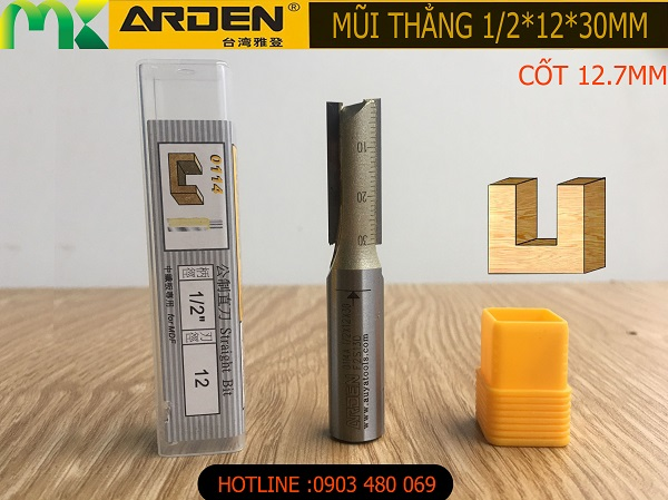 Mũi router thẳng Arden 1/2*12*30mm