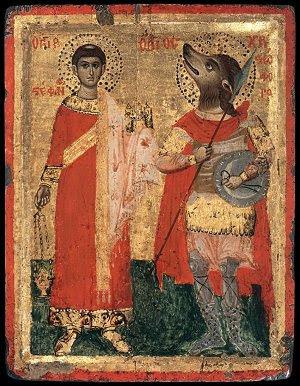 святой пёс, собака, псоголовый  Икона святых Стивена и Христофора Россия 17 век