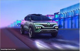 RENAULT KIGER - FRONT RIGHT SIDE ANGLE VIEW - 315 DEGREE - BLUE COLOUR