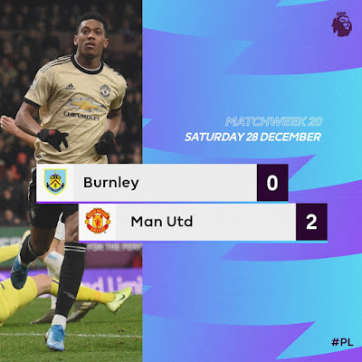 Manchester United moves to fifth position on the EPL table after a comfortable 0-2 win against Burnley which saw Anthony Martial opened the goal scoring and Marcus Rashford strikes late to complete the goals.