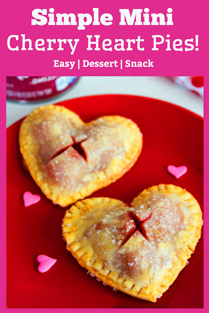 These Simple Mini Cherry Pies are Incredible sweet treats! Check out these easy heart shaped mini cherry pies. They are a great treat for dessert, a gift for the teacher, or something sweet as an afternoon snack. #snacks #pies #heart #simplerecipes #easyrecipes #valentine #desserts #gifts