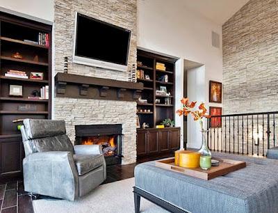 8 Ide Mendekorasi Ruang Keluarga Dengan Atap Yang Tinggi ! -  Aksen Batu Alam