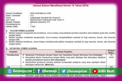 RPP Kelas 5 Tema 8 K13 Revisi 2020 Format 1 Lembar