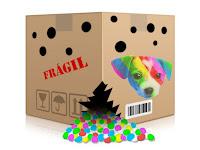 Esta es la caja en la que tenía que haber llegado EL PERRO ARCOÍRIS SONRÍE EN CICE