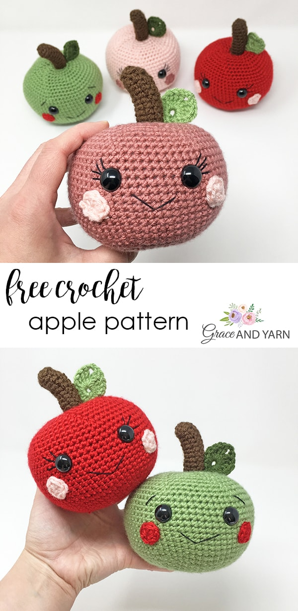Free Crochet Apple Pattern - Grace and Yarn