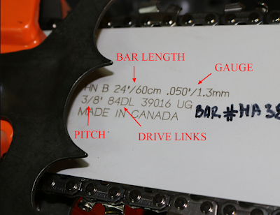 Demonstration of finding chain measurements on Husqvarna chainsaw