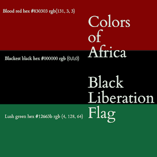 Colors of Africa Black Liberation Flag Hex and RGB color values