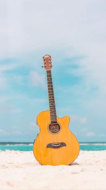 Acoustic guitar, guitar, instrument, beach, summer, music
