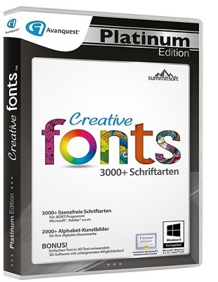 Summitsoft Avanquest Creative Fonts 5.0 Platinum Edition poster box cover