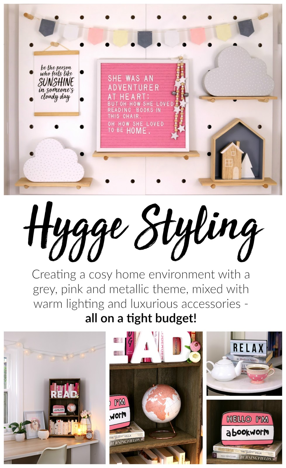 Hygge Winter Home Styling Inspiration – Pink and Grey Decor Theme for Bedroom, Living Room or Home Office on a Budget