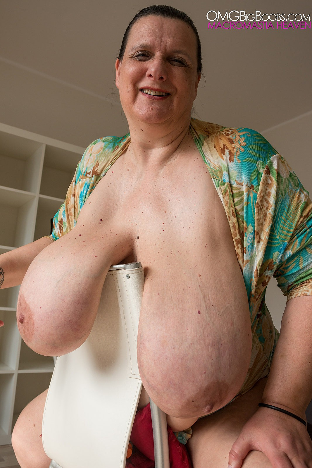 Older woman with large breasts