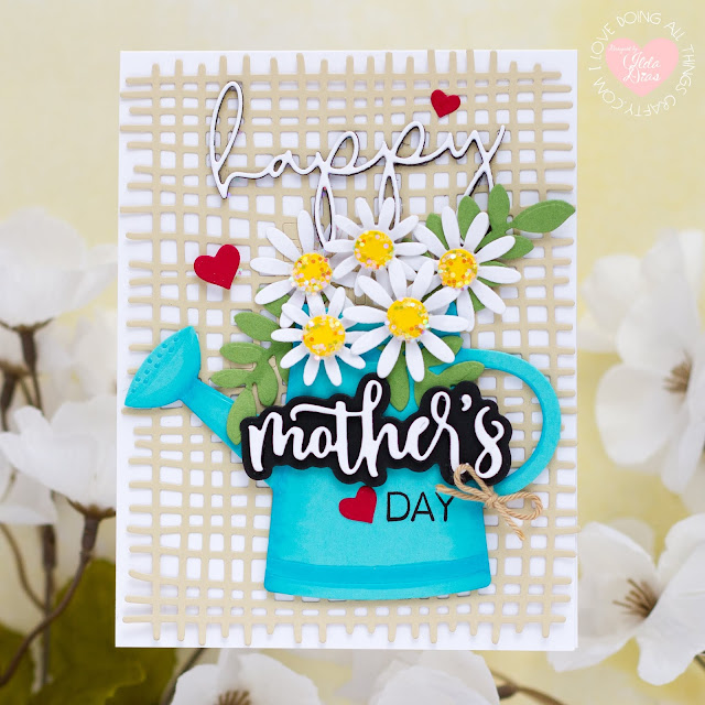 Watering Can Bouquet Card for Mom,Honey Bee Stamps,Mother's Day,Card Making, Stamping, Die Cutting, handmade card, ilovedoingallthingscrafty, Stamps, how to,  Spring Bouquet,BURLAP A2 BACKGROUND DIE, SLIMLINE SENTIMENTS EYELET DIES, BEST PARENTS DIES, BEST PARENTS, BEE MINE
