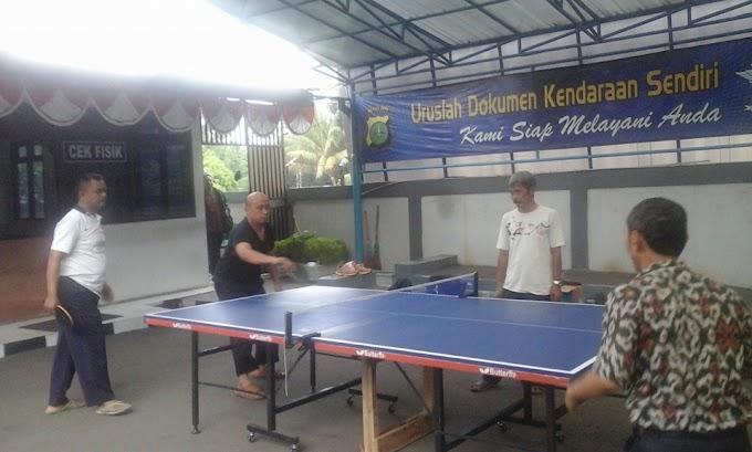 HUT Lantas, Samsat Depok Gelar Turnamen Tenis Meja