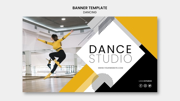 Banner template with dance studio Free Psd