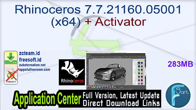 Rhinoceros 7.7.21160.05001 (x64) + Activator_ ZcTeam.id