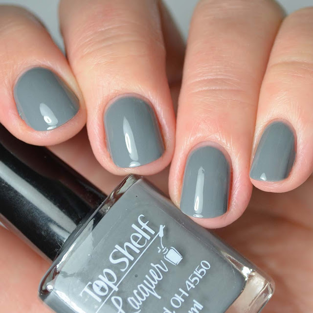 grey nail polish four finger swatch