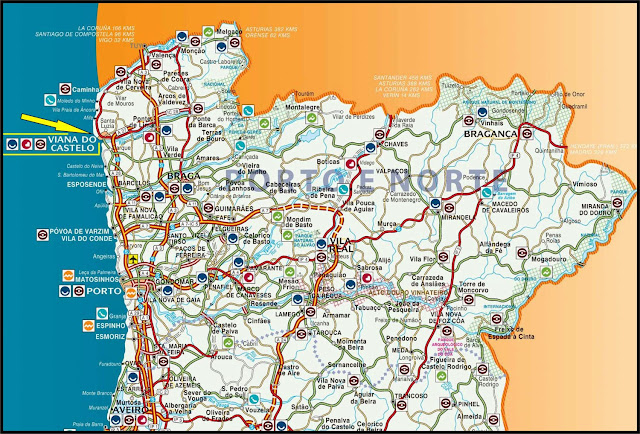 Mapa rodoviário do Norte de Portugal - Viana do Castelo
