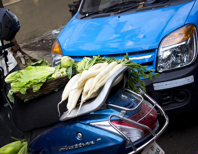 CDP Theme Day, blue, vegetables seller, car, scooter, colaba, market, street, mumbai, incredible india,