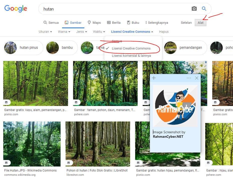 cara mencari creative commont image