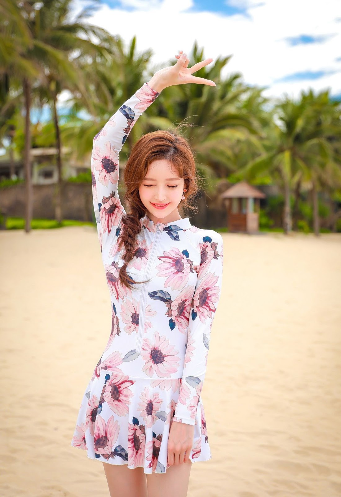 Image Korean Fashion Model - Kim Hee Jeong - Pink Fantasy Flamingo Swimsuit - TruePic.net - Picture-8