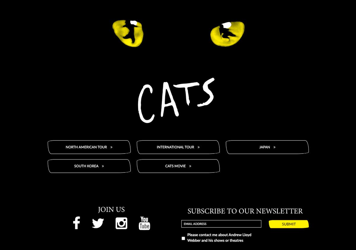 Screengrab of the musical Cats' dark mode homepage design