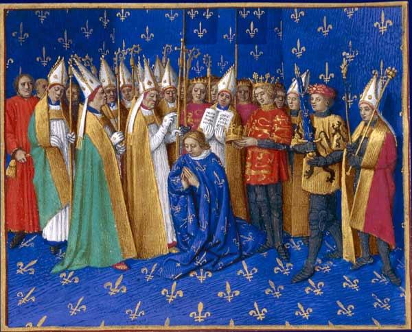 Coroação de Filipe Augusto rei da França. Grandes Chroniques de France, Iluminura de Jean Fouquet. Tours, por volta de 1455-1460