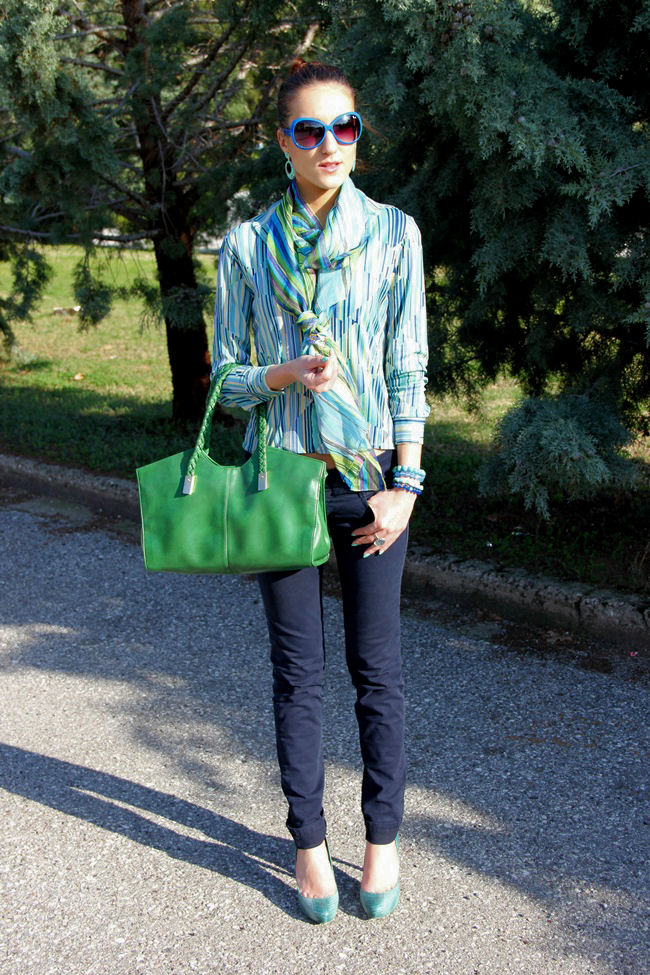 how to mix blue and green tones outfit idea