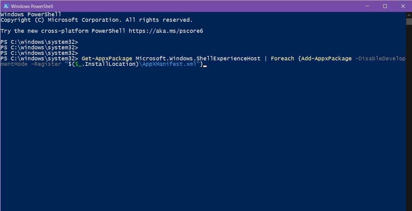 Windows shell experience host suspended