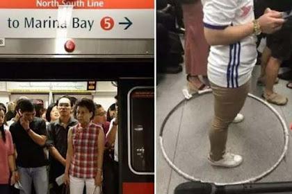 Lagi Heboh Wanita Ini Gunakan Hula Hoop Agar Tidak Berdesakan Dengan Orang Di Dalam MRT