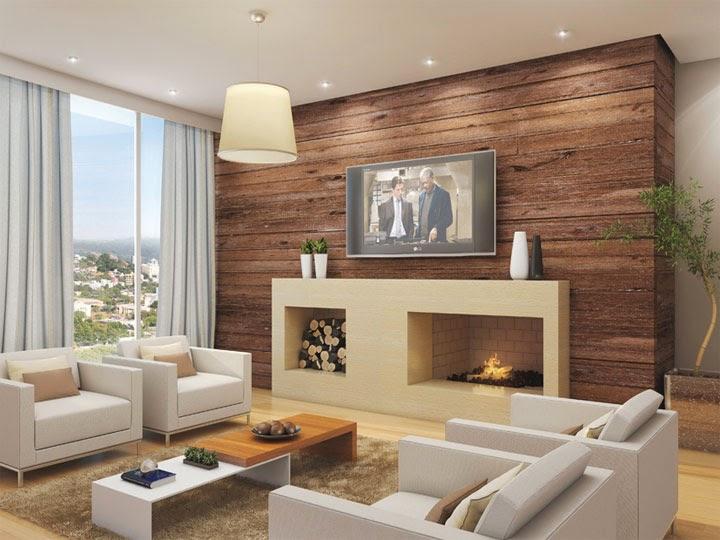 Projetos De Sala De Tv Com Lareira ~  cinza claro! Ideia da iluminação com spot de Led ao redor da sala