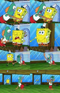Polosan meme spongebob dan patrick 14 - ikan hijau histeris, teriak-teriak heboh gak jelas