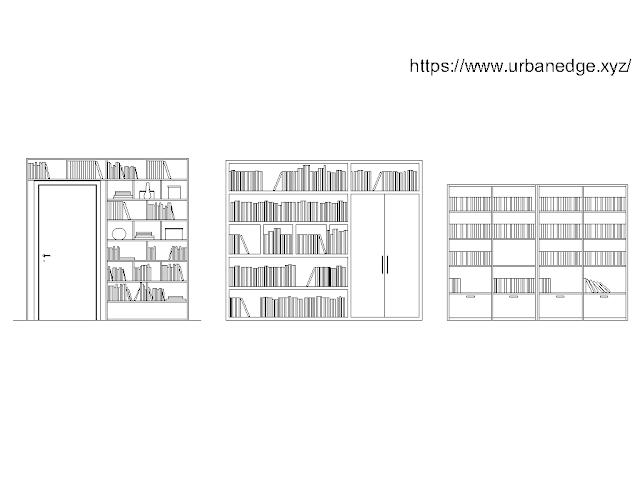 Library bookshelf cad blocks free download