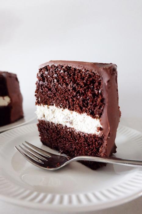 slice of chocolate cake standing on plate