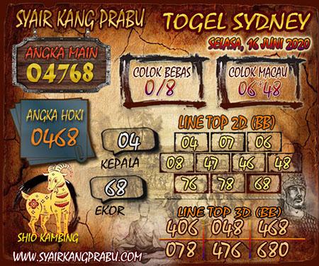 Prediksi Togel Sidney Selasa 16 Juni 2020 - Kang Prabu