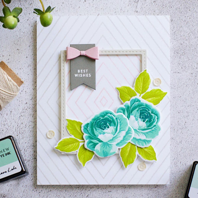 Sunny Studio Stamps: Everything's Rosy Layered Rose Wedding Card by Natty