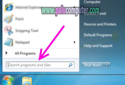 fitur search program and files di windows 7
