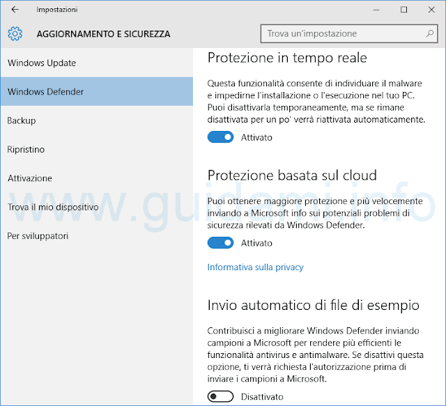 Windows Defender impostazioni in Windows 10
