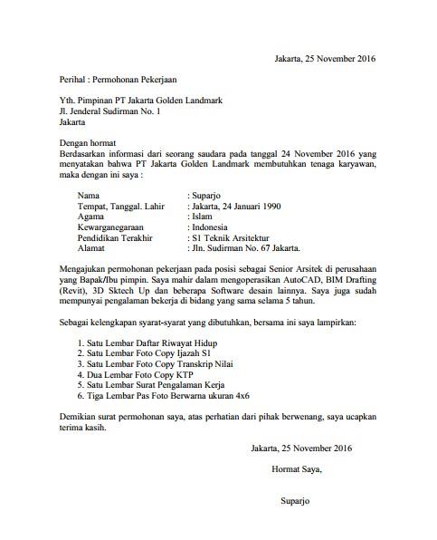 Contoh Surat Lamaran Kerja PDF Terbaik (via: bocahkampus.com)